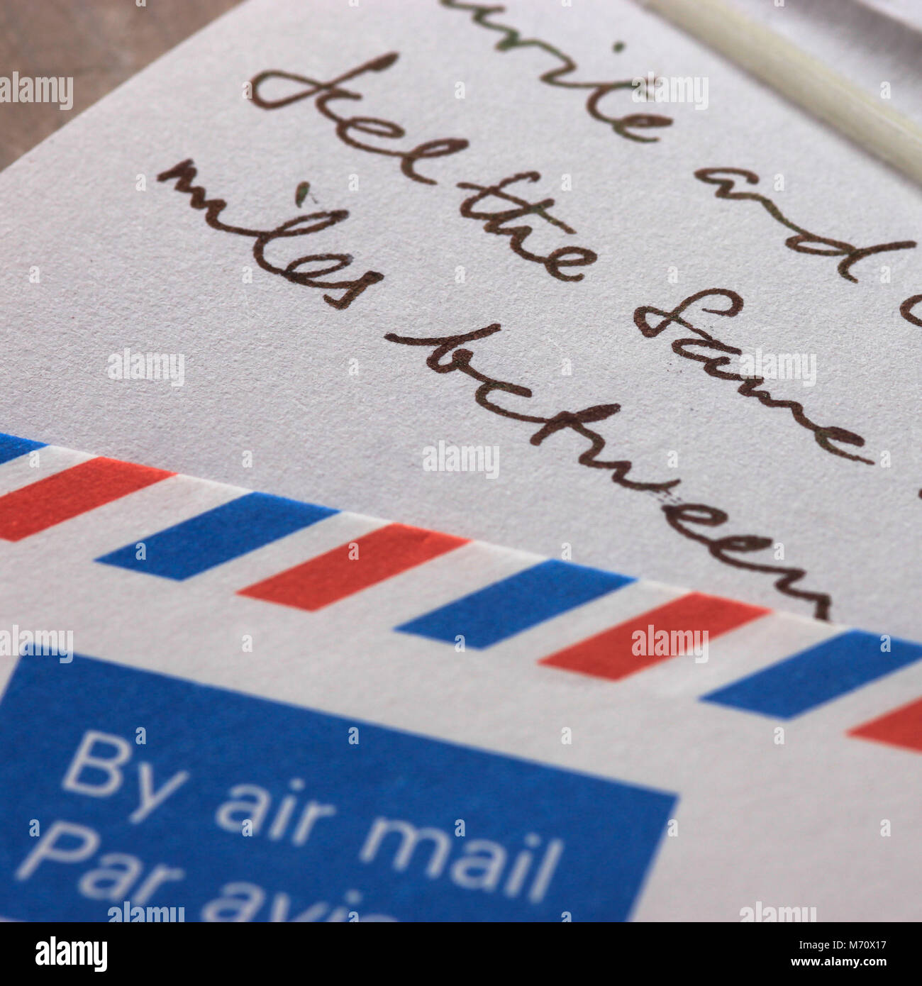 Air Mail Envelope With Part Of Hand Written Letter Writing Abroad To