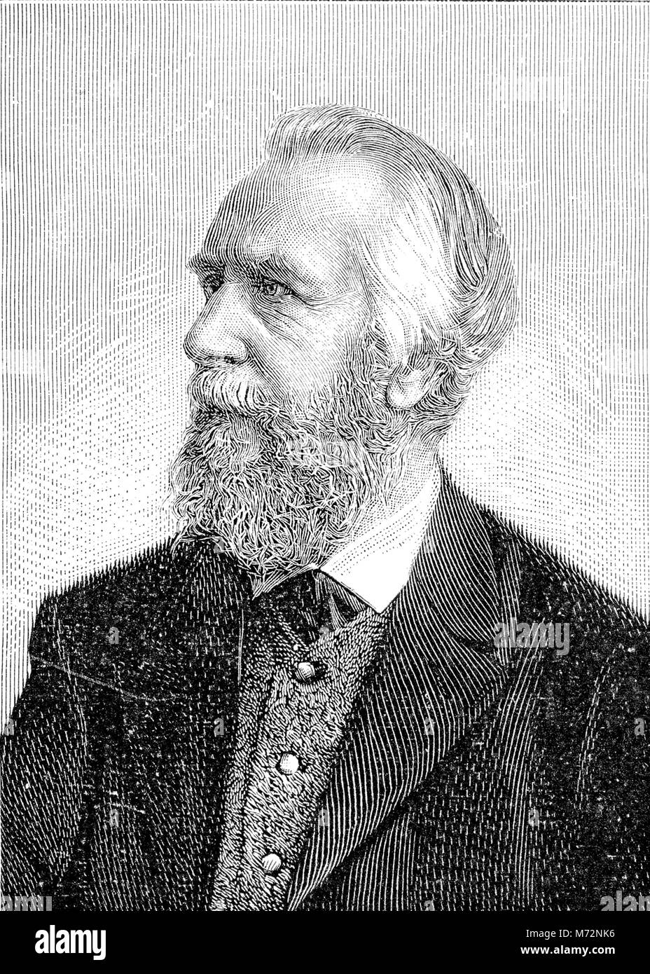 Vintage engraved portrait of Ernst Haeckel, German naturalist and artist, famous for his multicolor illustrations - Stock Image