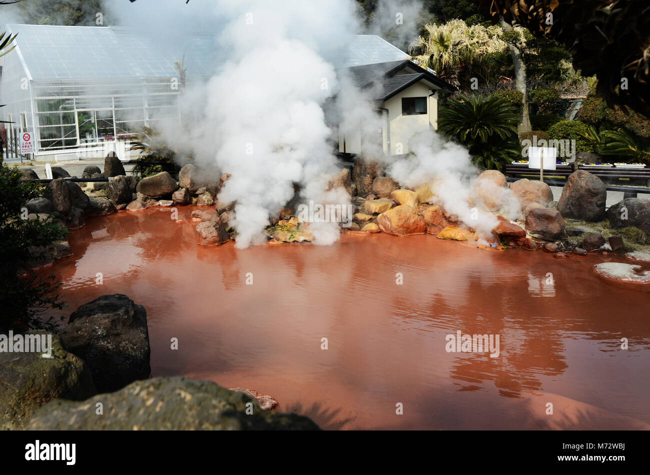 A small blood pond hot spring in the Umi Jigoku complex. - Stock Image