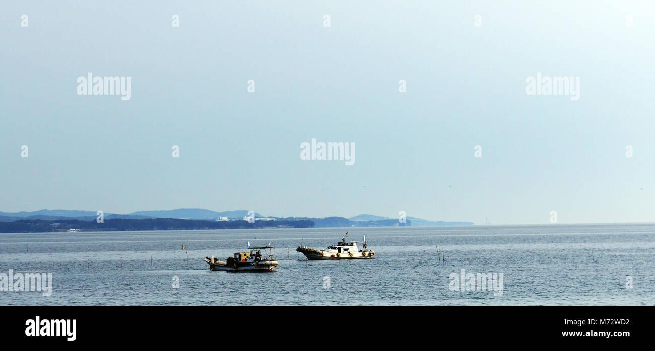 Fishing boats in Beppu bay, Japan. - Stock Image