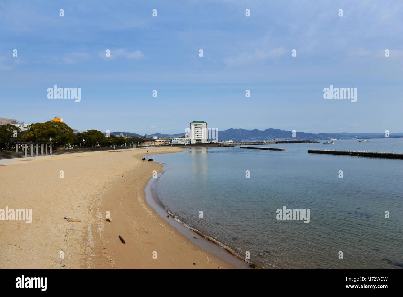 The beach in Beppu, Japan. - Stock Image