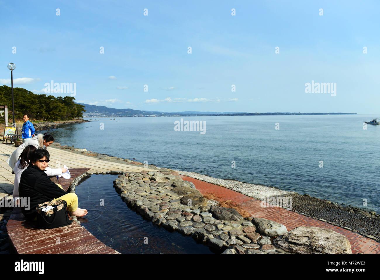 Foot bath by the ocean at Kamegawa onsen by the ocean at Beppu. - Stock Image