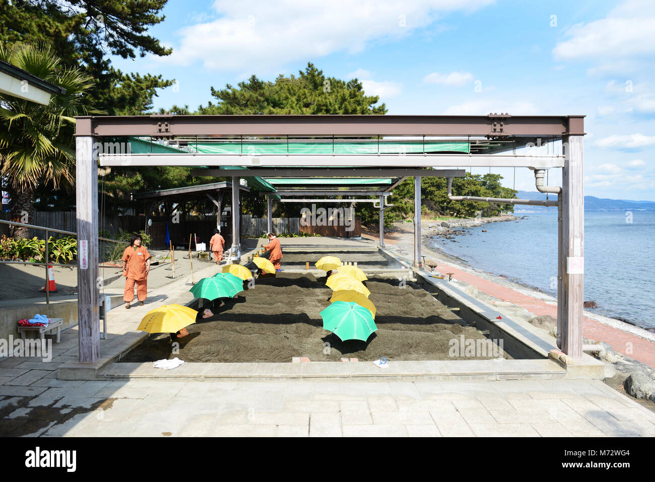 A unique sand bath at Kamegawa onsen by the ocean at Beppu. - Stock Image