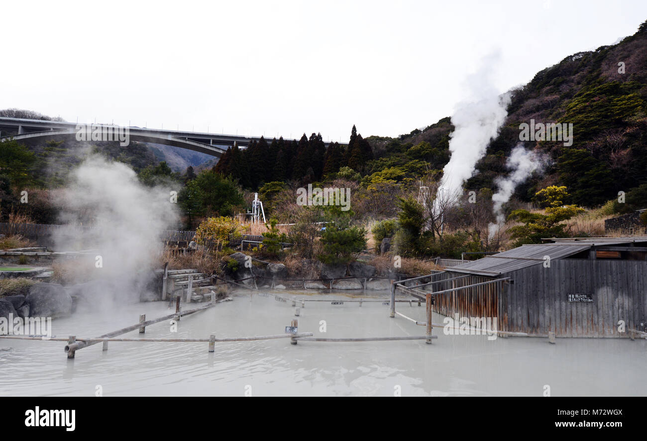 Hoyo Land Hot Spring is rich with sulfur. - Stock Image