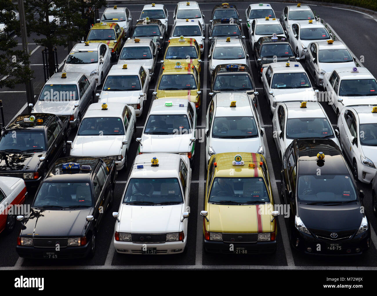 Japanese taxis lined in perfect rows at the Hakata railway station in Fukuoka. - Stock Image