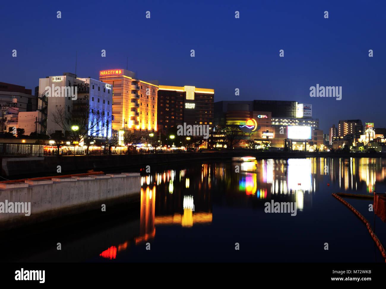 Naka river in Fukuoka, Japan. - Stock Image