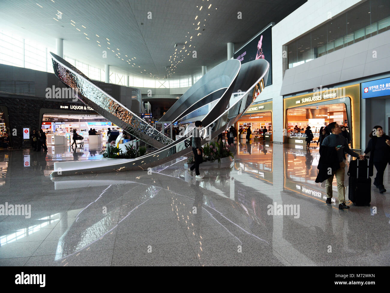 The new Korean Air terminal at Incheon international airport. - Stock Image