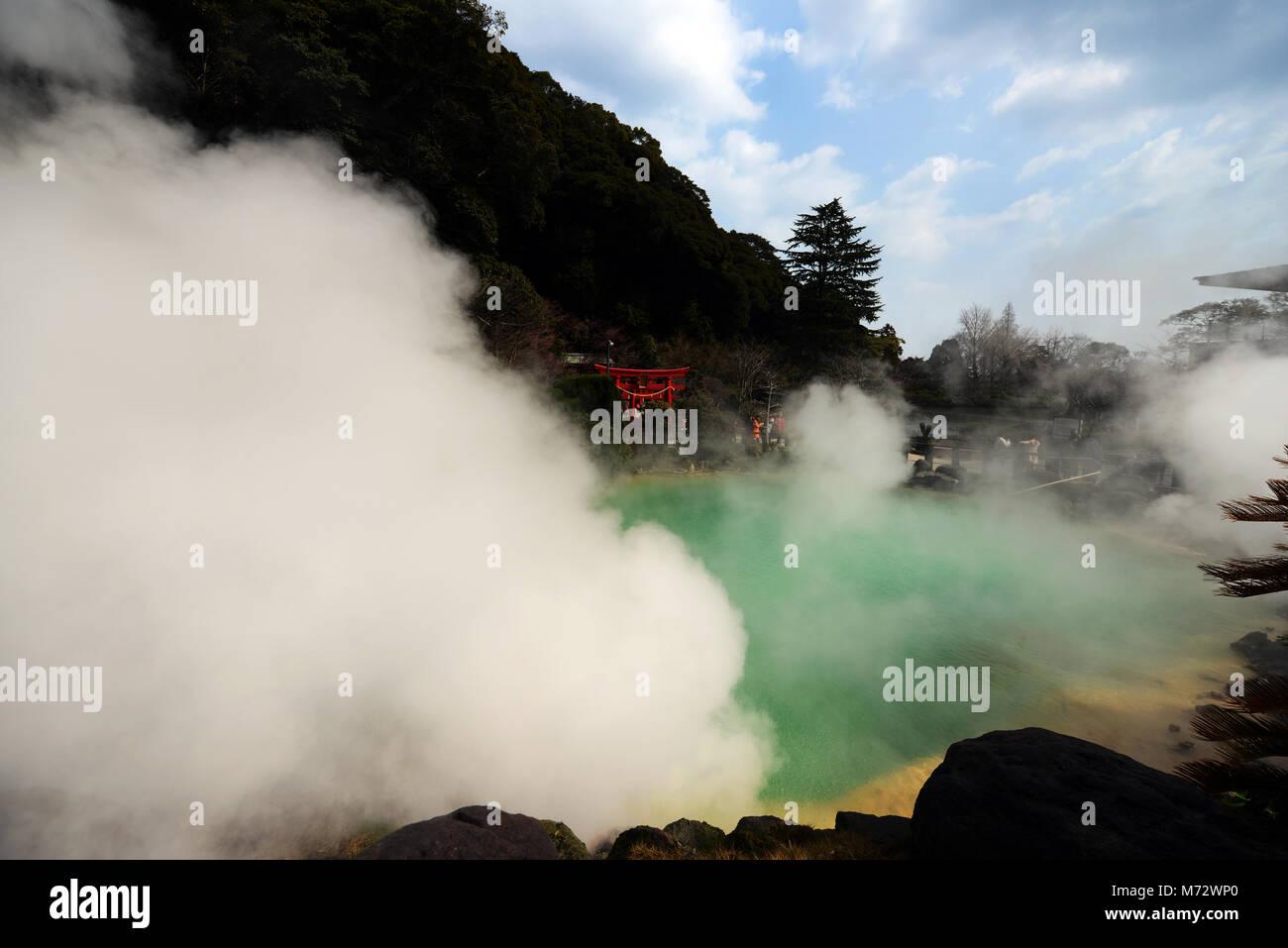 Umi Jigoku ( Ocean Hell ) hot spring in Beppu, Japan. - Stock Image
