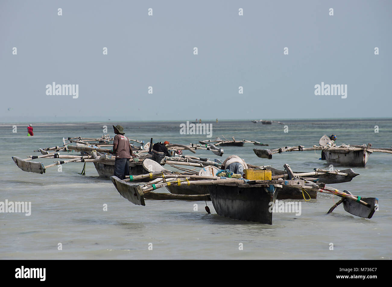 Dhow traditional fishing vessels in Jambiani harbour Zanzibar Tanzania at low tide with a fisherman pushing the - Stock Image