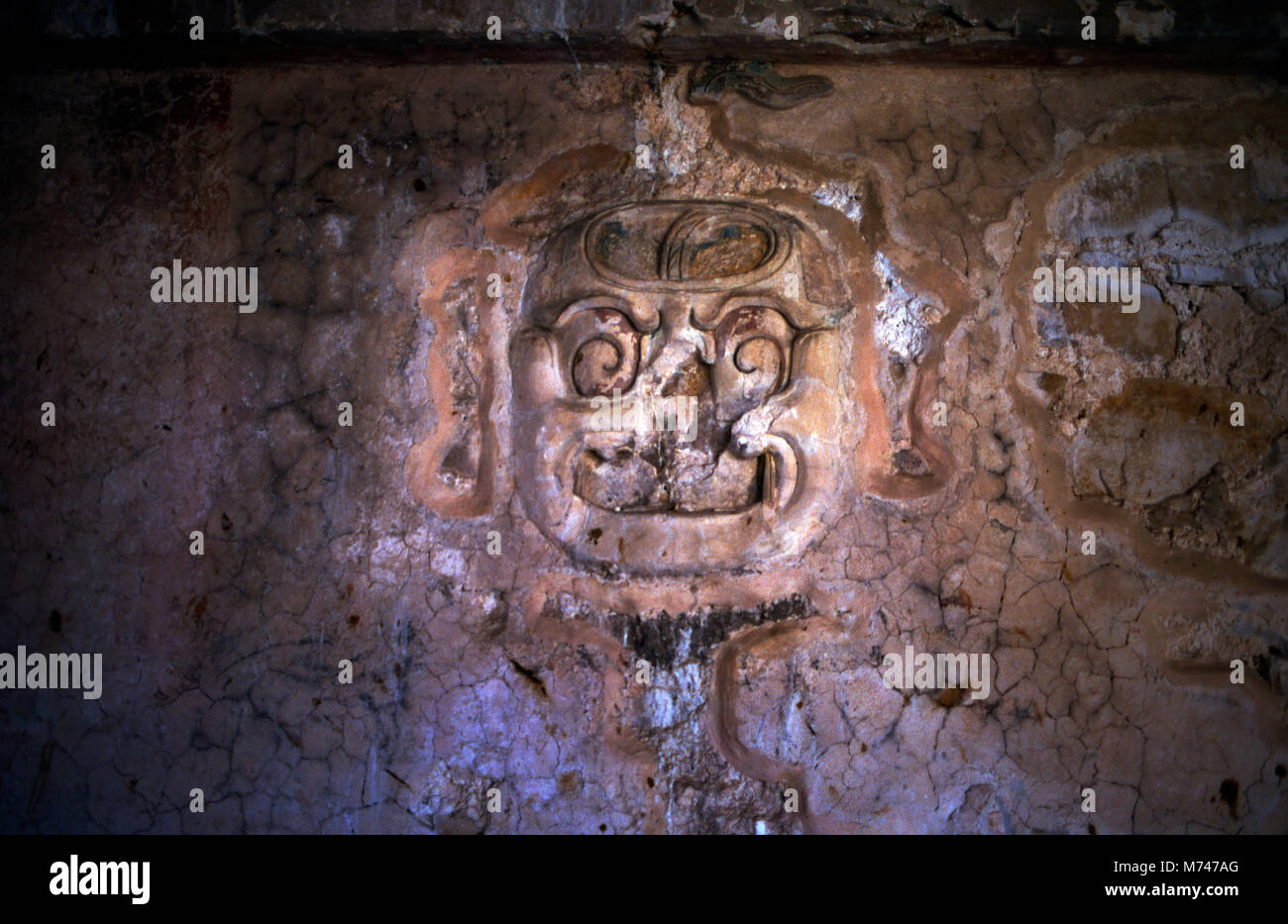 Carved into an inner wall of the palace at Palenque, it is unclear whether this plaster relief depicts a Mayan god, - Stock Image
