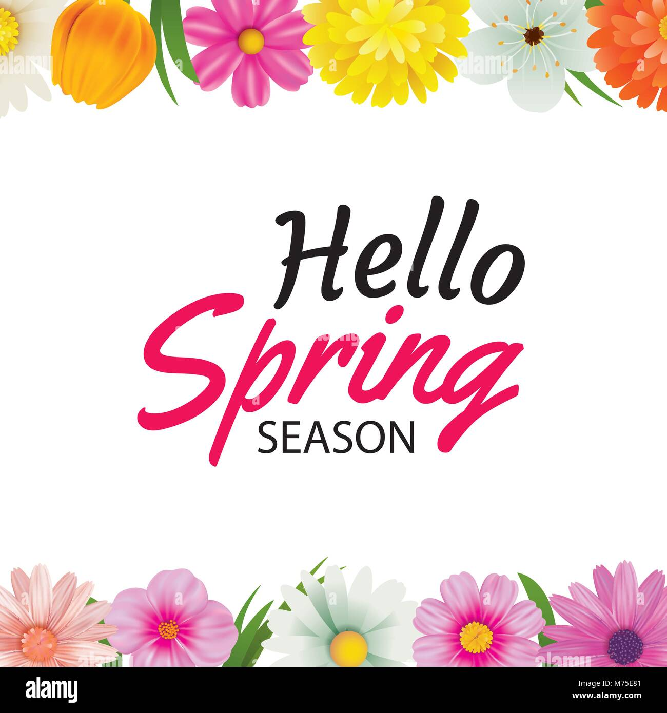 Hello spring season greeting card with colorful flower frame stock hello spring season greeting card with colorful flower frame background template can be use voucher wallpaperflyers invitation posters brochure m4hsunfo Images