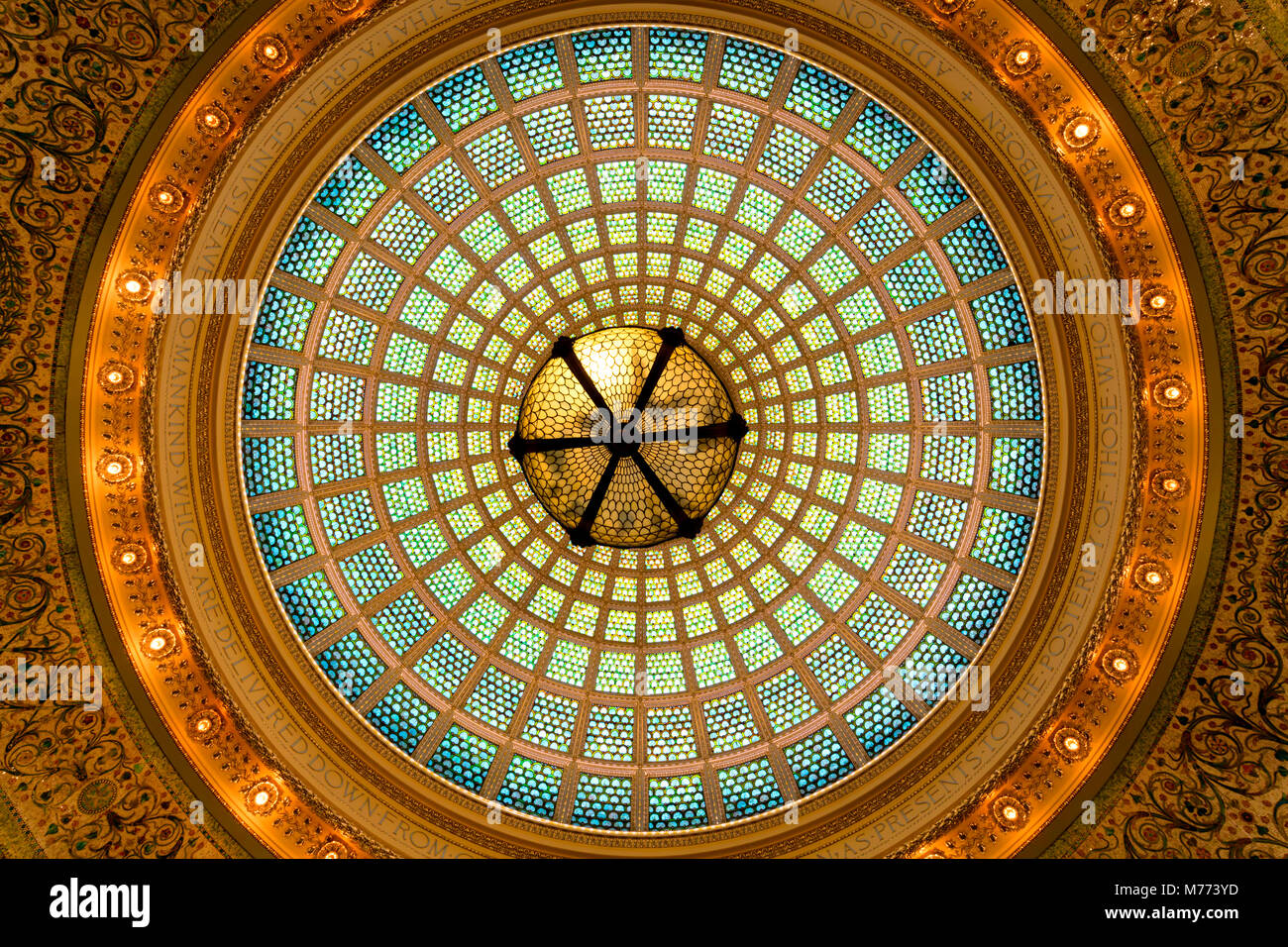 Chicago, Illinois - June 2017. View of the interior dome of the Cultural Center. Stock Photo