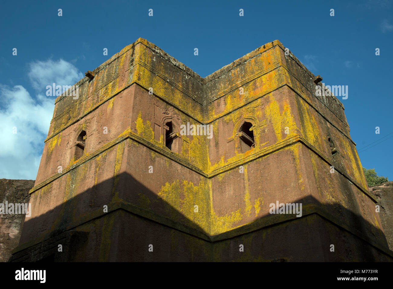 The Church of Saint George was the last of 11 rock-hewn churches built around 700 years ago in Lalibela, Ethiopia. - Stock Image