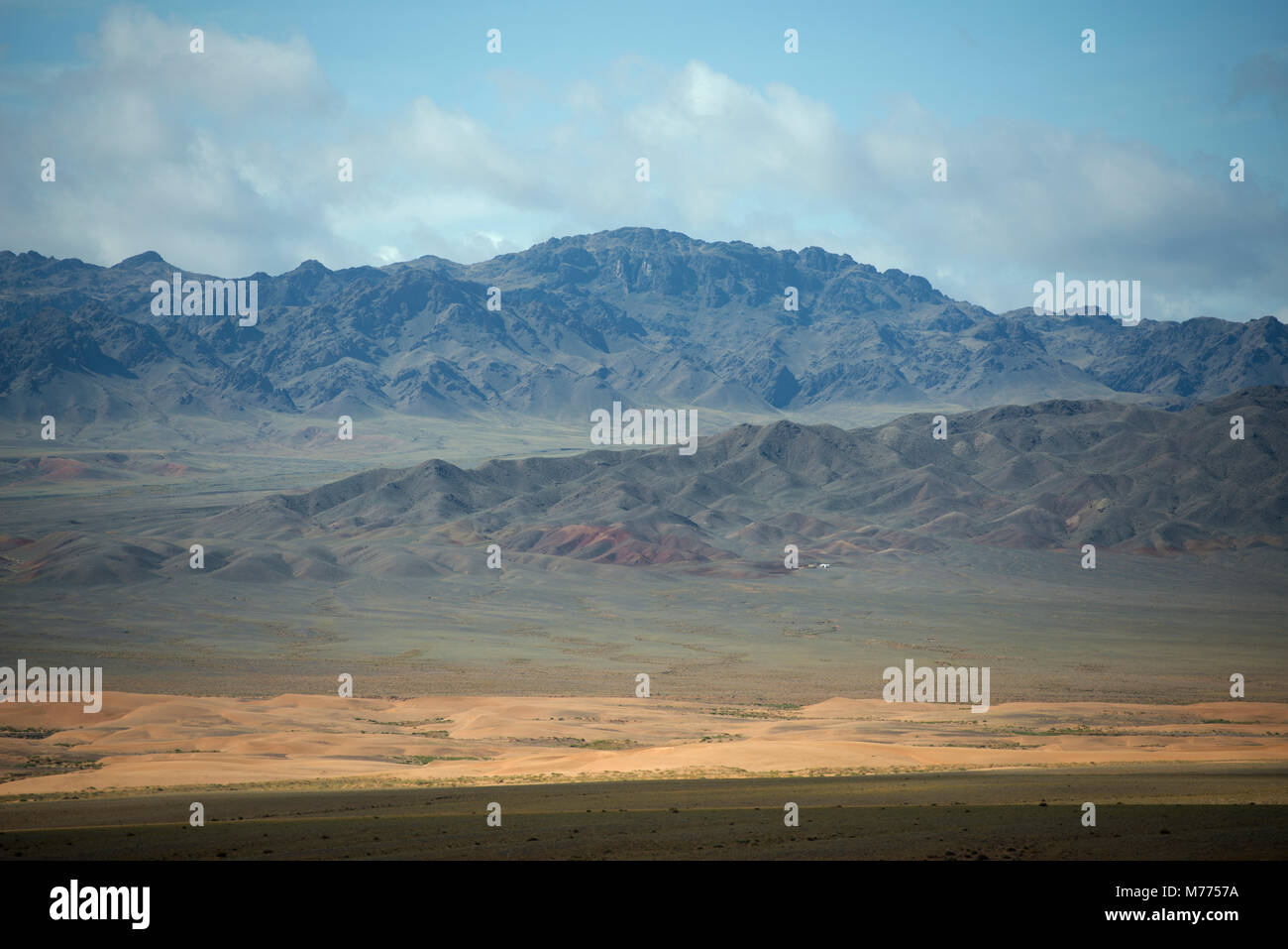 Difficult to spot at first, this tiny settlement shows the isolation of a nomadic community in the mountains of - Stock Image