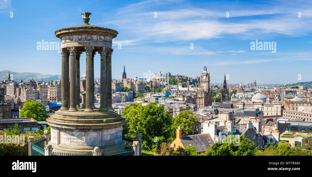 Dugald Stewart Monument, city centre and Edinburgh skyline panorama, Calton Hill, Edinburgh, Midlothian, Scotland, - Stock Image