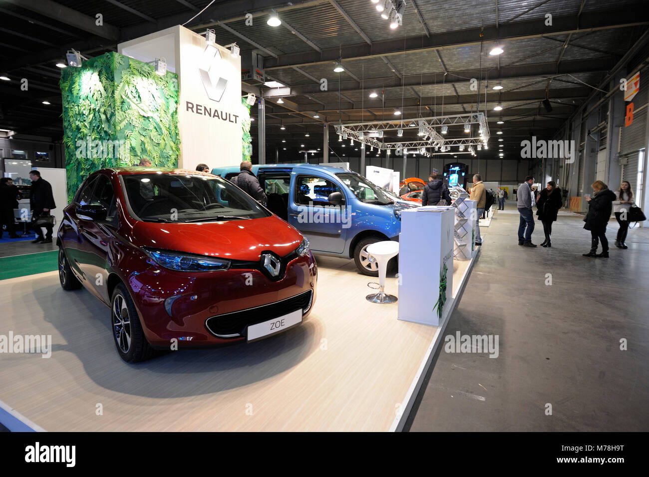 New hybrid cars demonstrated during exhibition PLUG-IN UKRAINE 2018. March 2, 2018. Kiev Expo center. Kiev, Ukraine - Stock Image