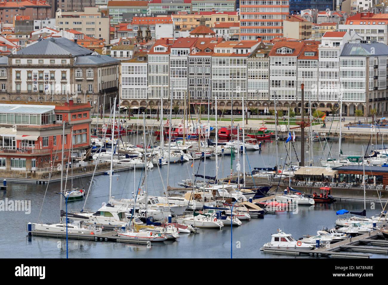 Yacht Marina, La Coruna City, Galicia, Spain, Europe - Stock Image