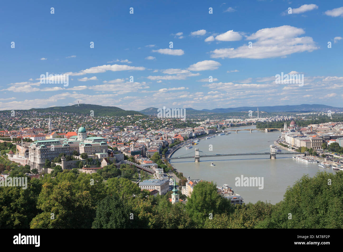 View from Gellert Hill to Buda Castle, Danube River and Parliament, Budapest, Hungary, Europe - Stock Image