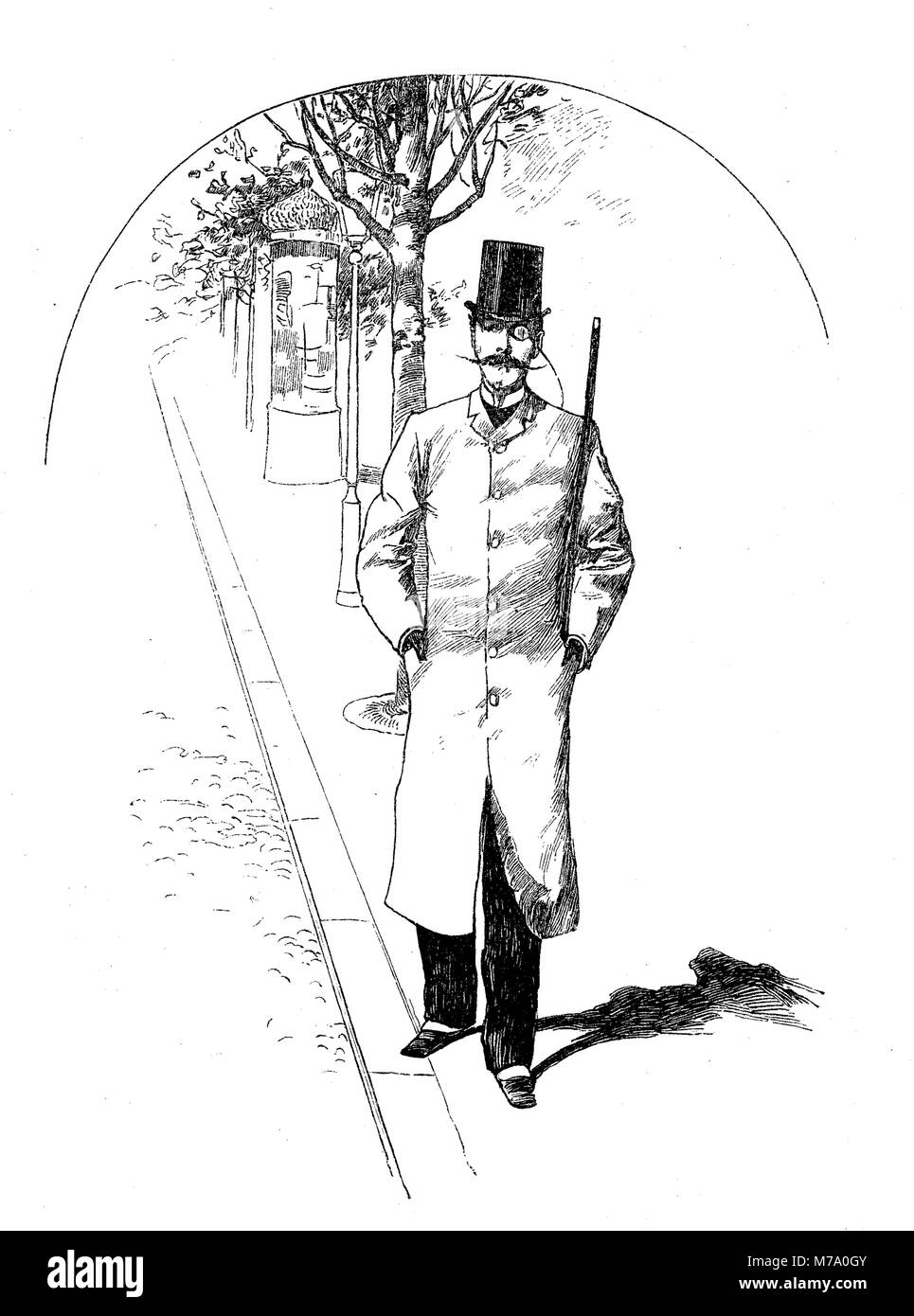 Fashionable gentleman with monocle and moustache takes a walk in town, vintage caricature - Stock Image