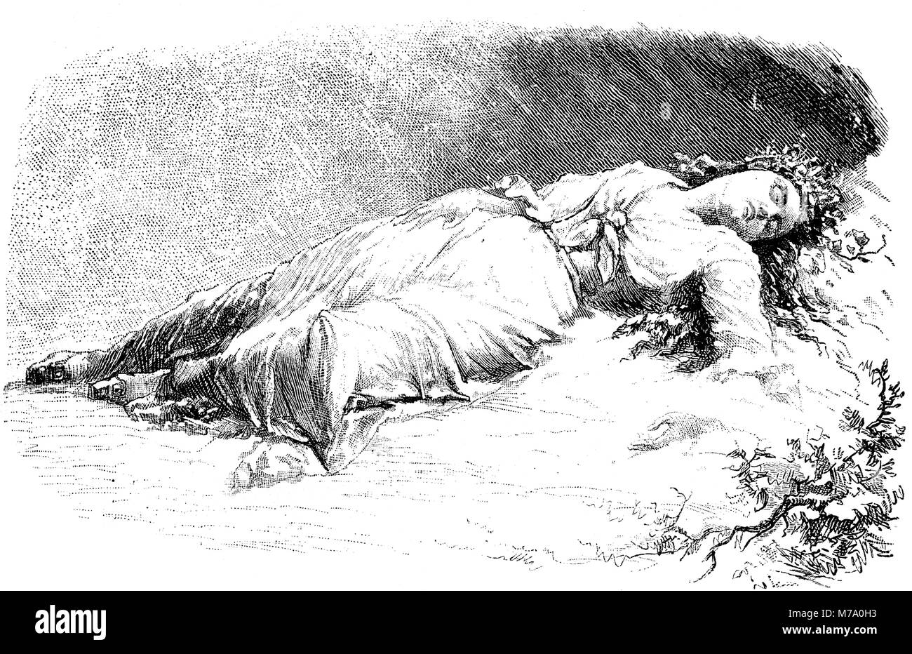 Sleeping beauty, romantic vintage engraving - Stock Image