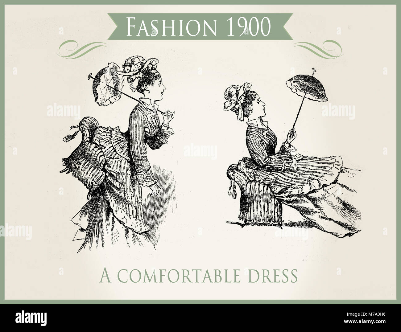 Fashion early 1900: a comfortable dress, caricature and fun - Stock Image