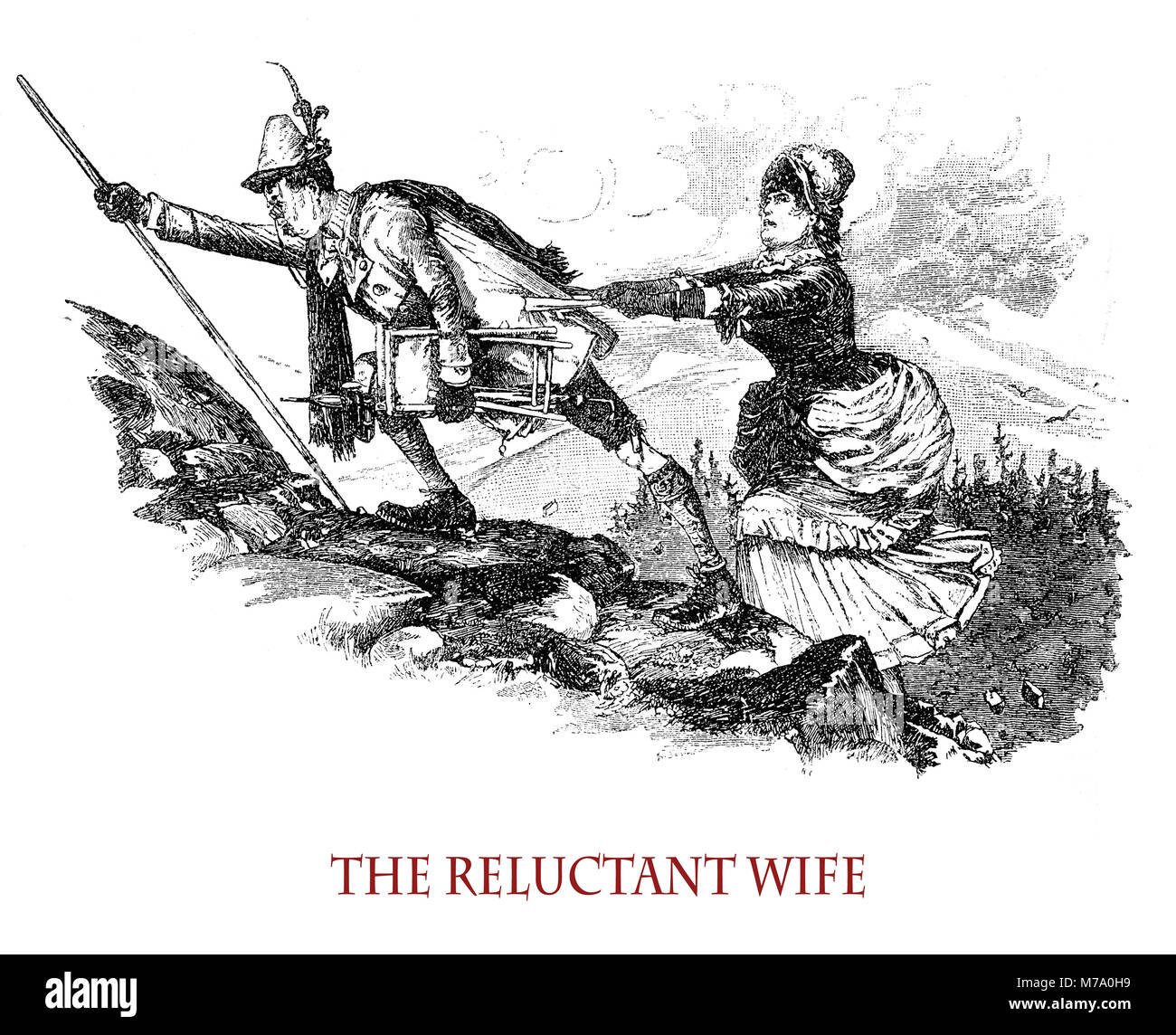 The reluctant wife accompanying her husband to mountain climbing, vintage caricature and fun - Stock Image