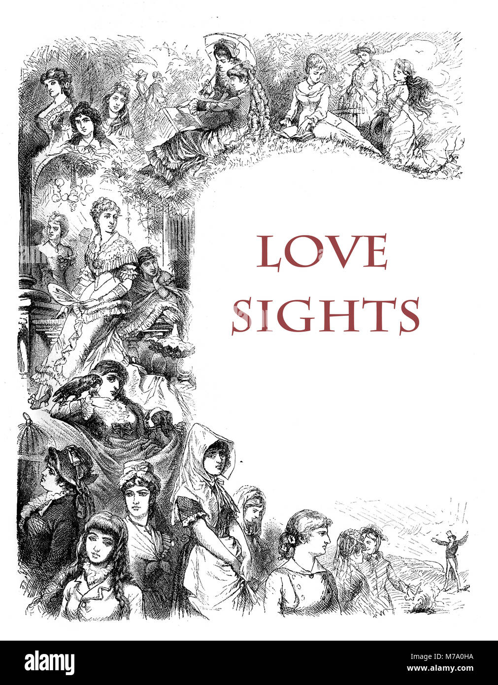 Women and inspiring love, a collection of love sights, XIX century engraving - Stock Image