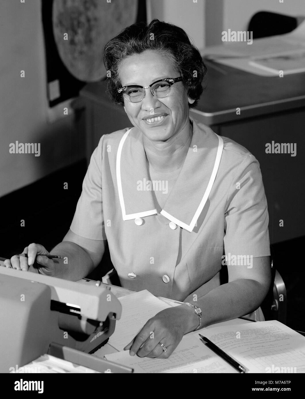 Katherine Johnson. Portrait of Katherine Coleman Goble Johnson (born 1918) at NASA in 1966. - Stock Image