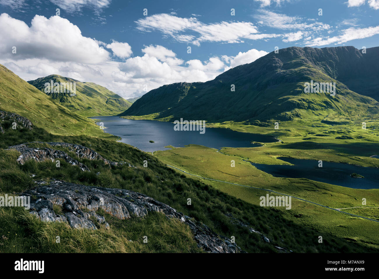 Gigantic view into the Doolough Valley, County Mayo, Ireland - Stock Image