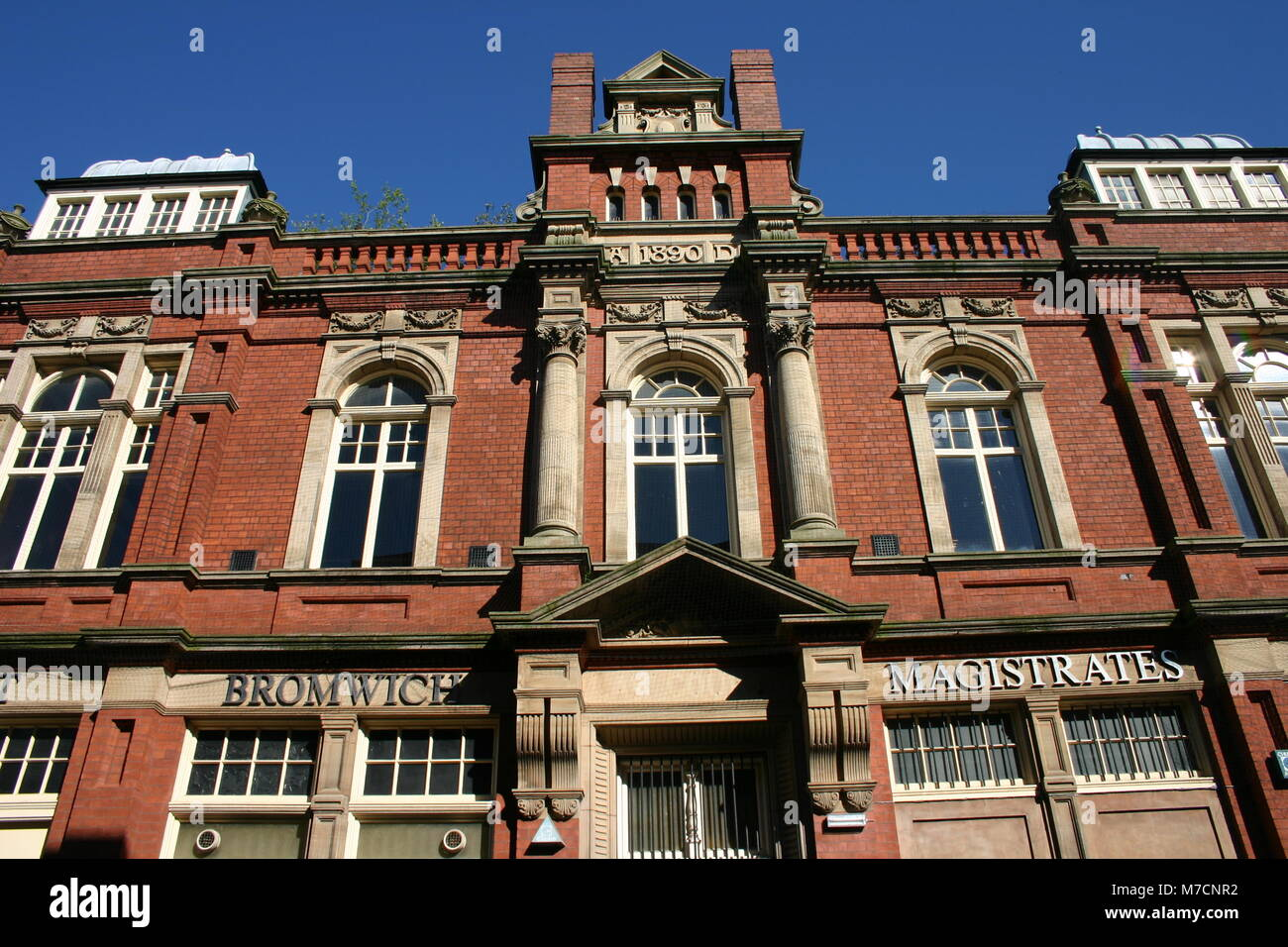 Law Courts, Lombard Street, West Bromwich, built in red brick and terracotta, 1880, by Wood and Kendrick - Stock Image