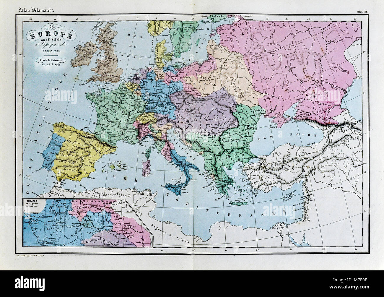 1858 Delamarche Historical Map Of Europe In The 18th Century During