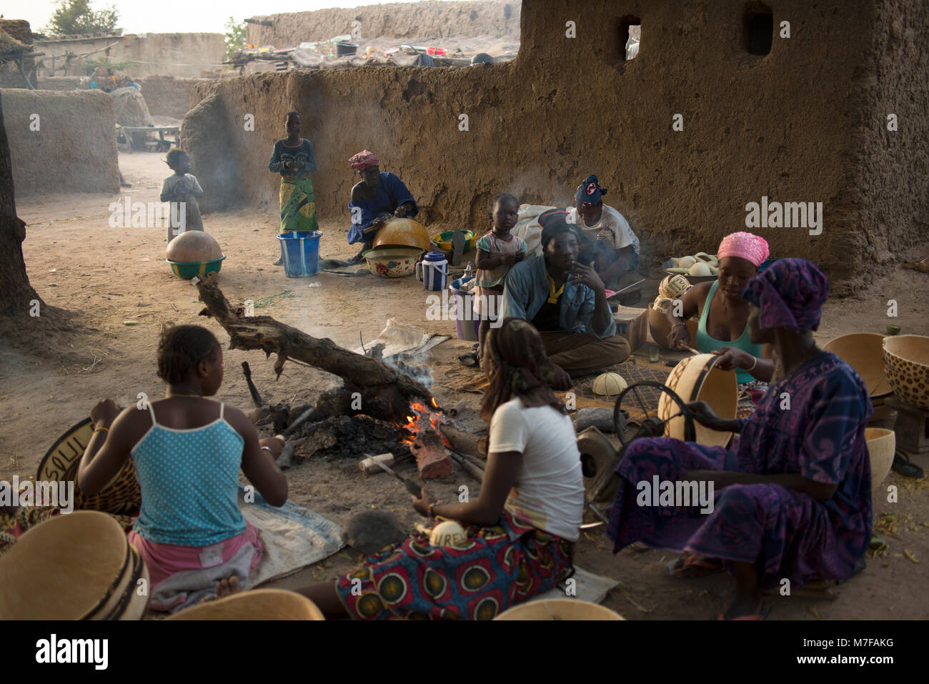 In a small village near Segou, Mali, West Africa, everyone makes their income by decorating calabashes. - Stock Image