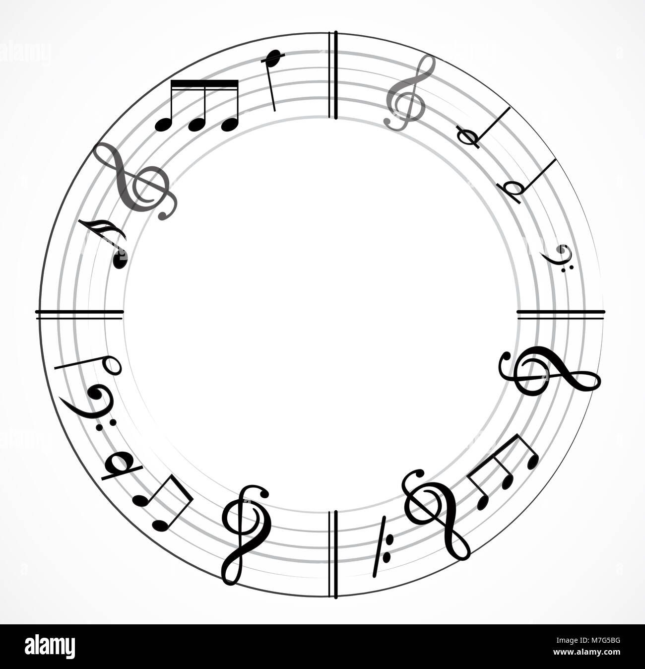 Music Note Background With Different Music Symbols Stock Photo
