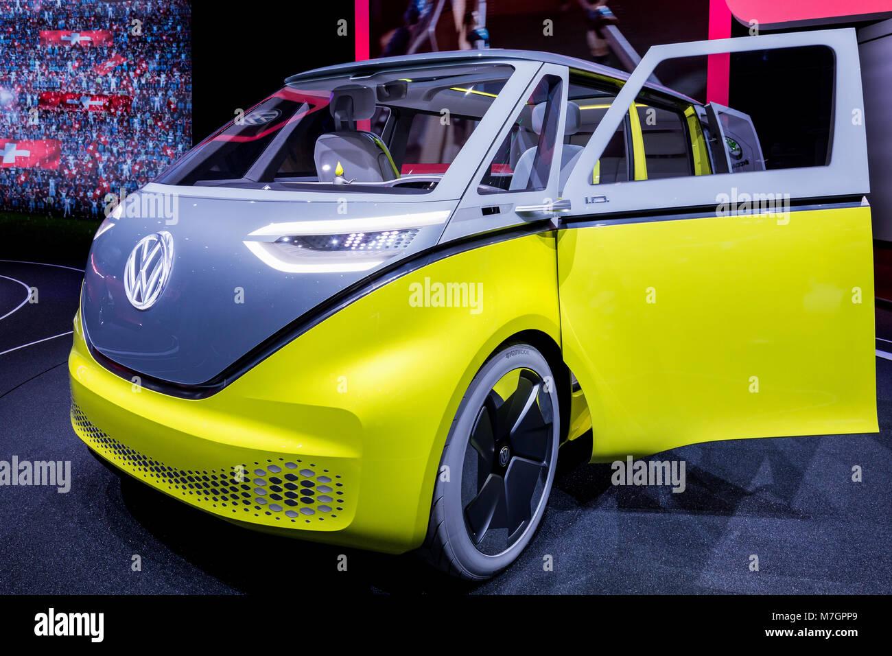 ID Buzz Microbus, Volkswagen, VW Camper, Electric minibus, Geneva Motor show, Switzerland - Stock Image