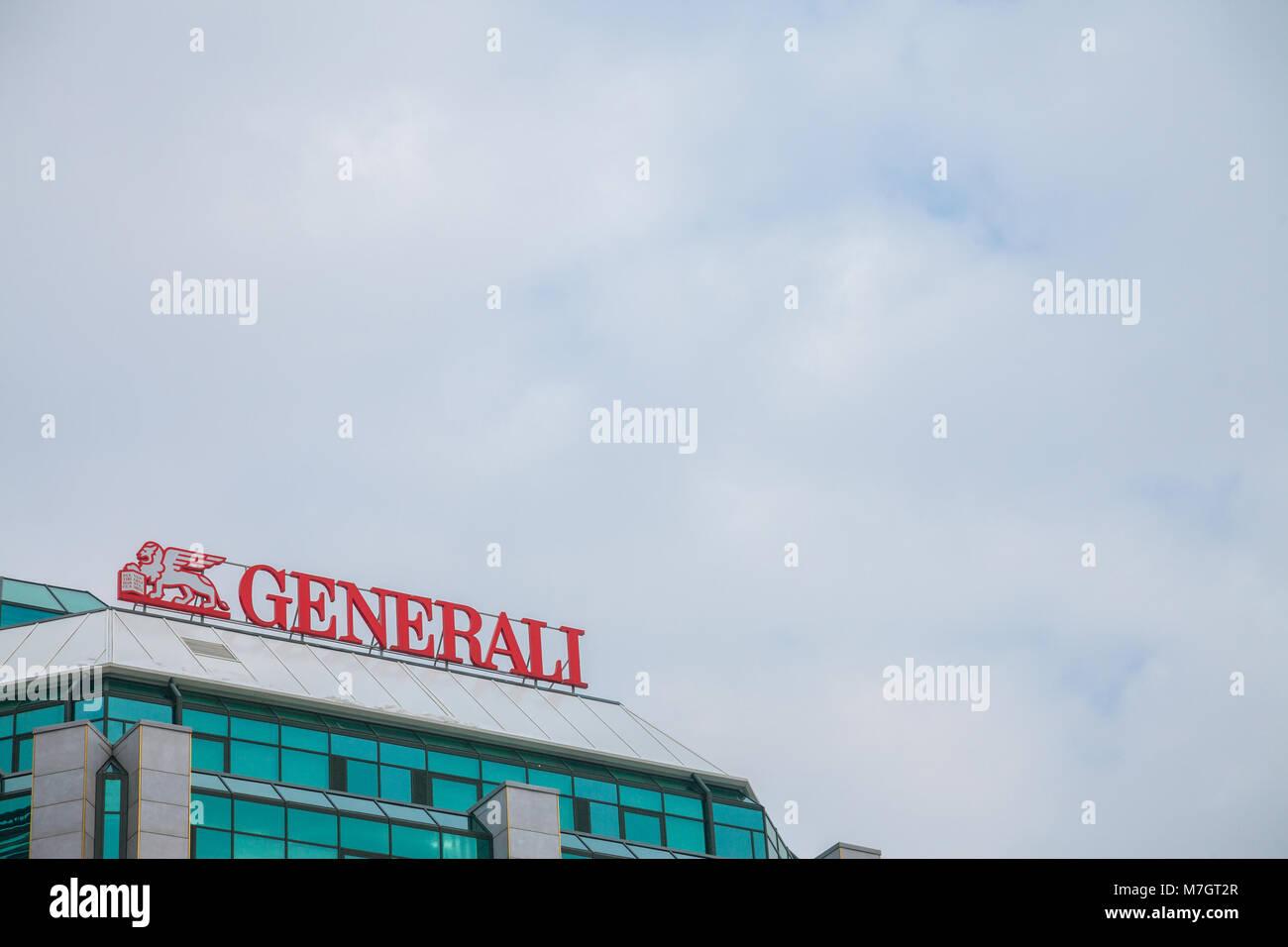 BELGRADE, SERBIA - MARCH 2, 2018: Generali Insurance logo on their main office for Serbia. Assicurazioni Generali - Stock Image