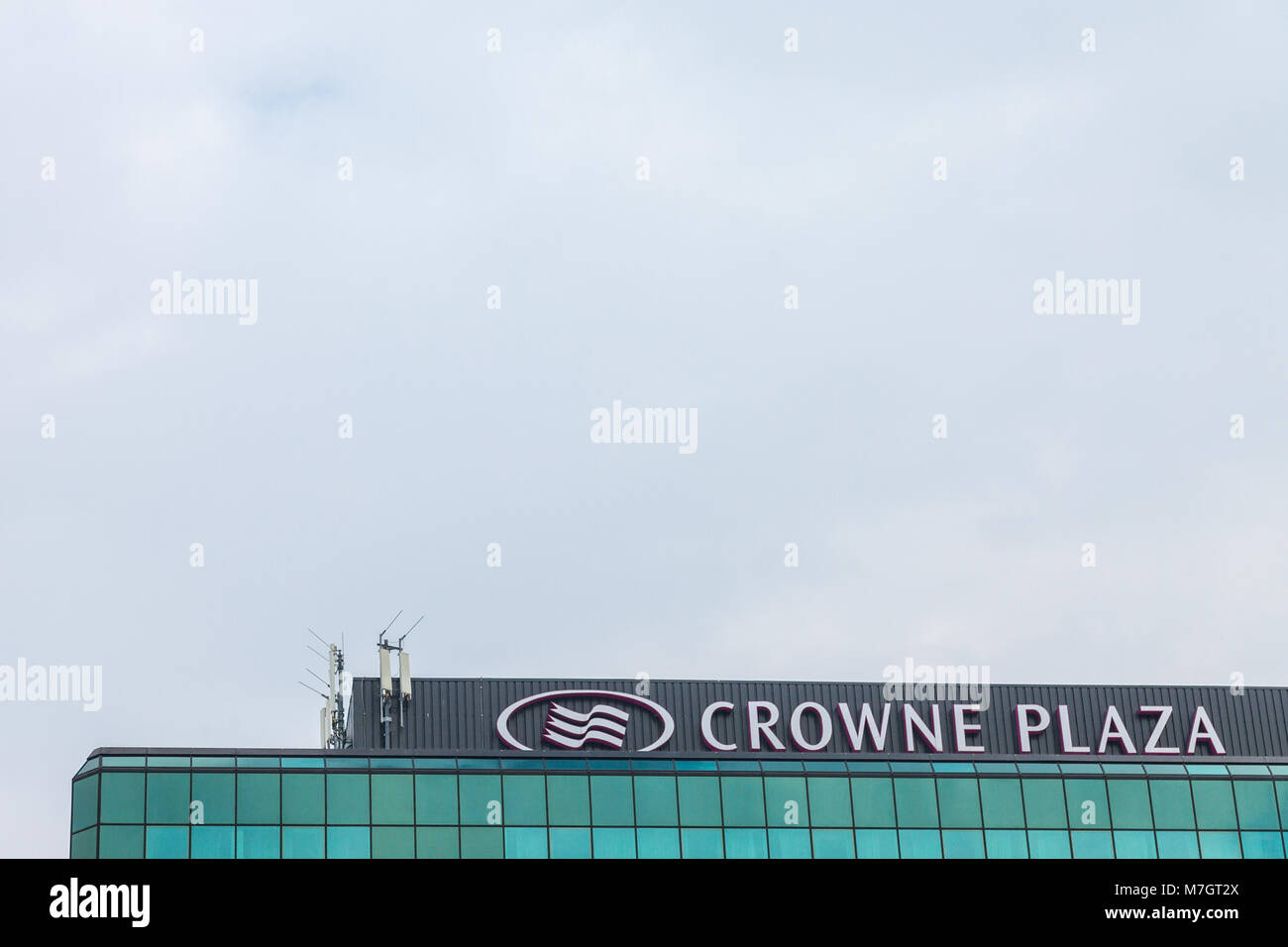 BELGRADE, SERBIA - MARCH 2, 2018: Crowne Plaza logo on their main hotel in Serbia. Crowne Plaza is a worldwide brand, - Stock Image