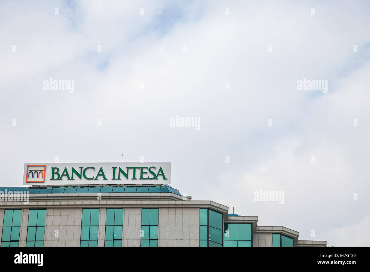 BELGRADE, SERBIA - MARCH 2, 2018: Banca Intesa logo on their main office for Serbia. Intesa SanPaolo is one of the - Stock Image