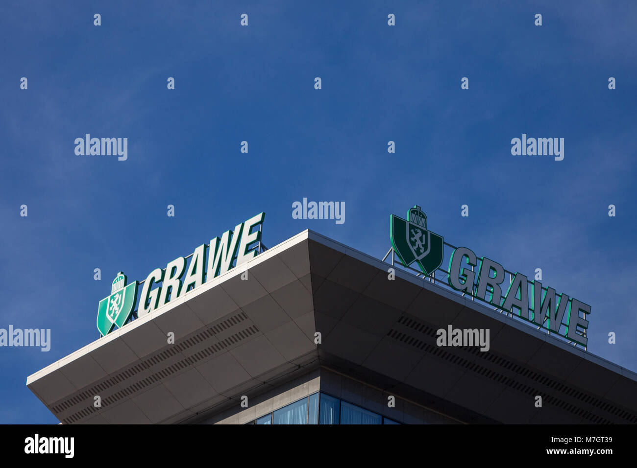 BELGRADE, SERBIA - MARCH 9, 2018: Grawe logo on their main office for Serbia. Grawe, or Grazer Wechselseitige  is - Stock Image