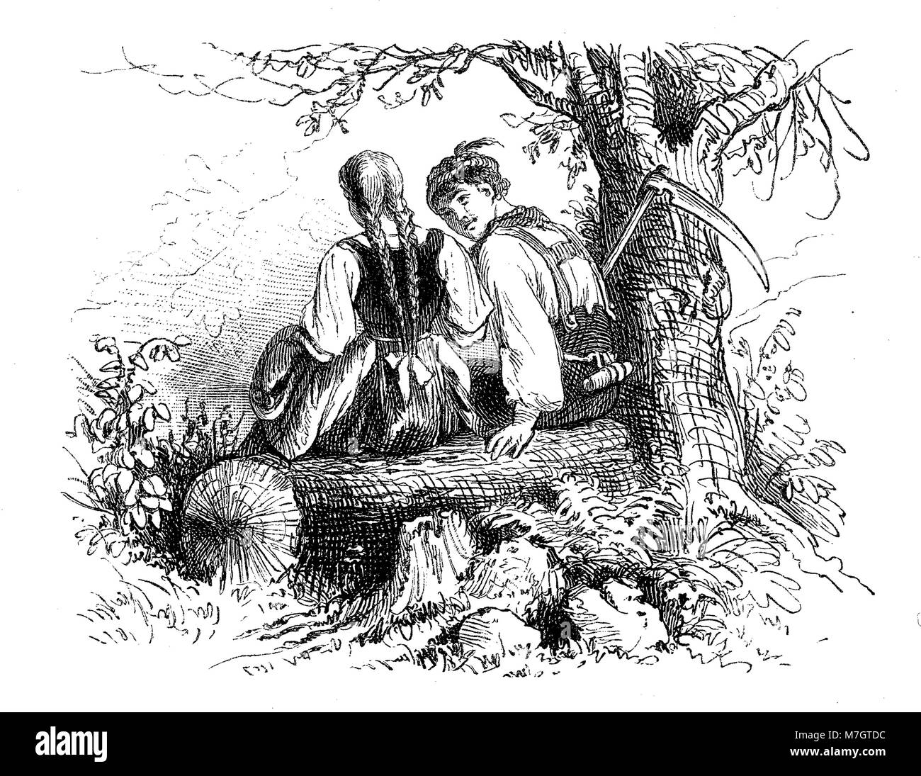Countryside romance, peasant boy courting a girl, vintage Valentine engraving - Stock Image