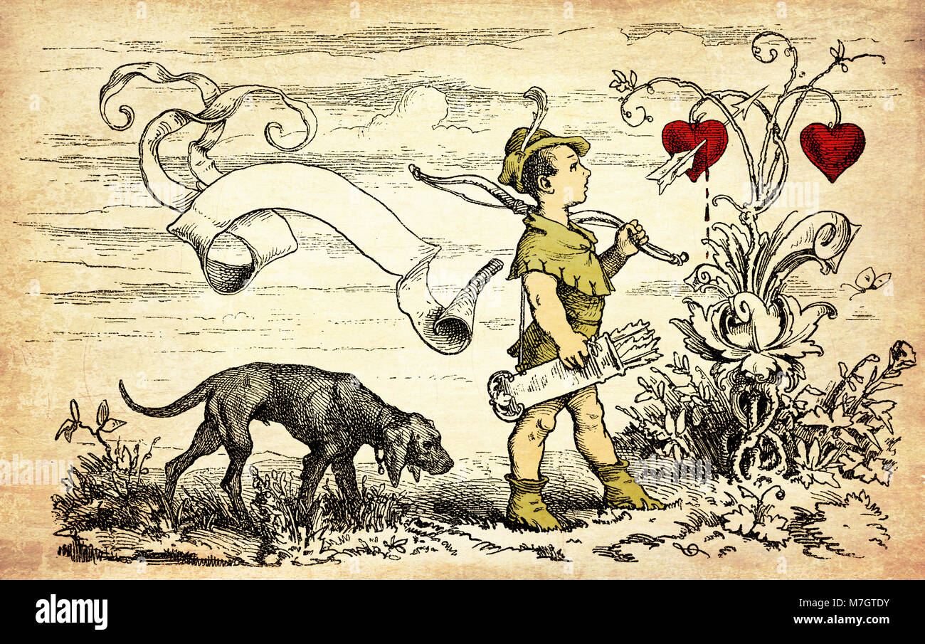 Vintage Valentine card with copyspace: cute Cupid goes hunting for hearts with bow and arrows - Stock Image