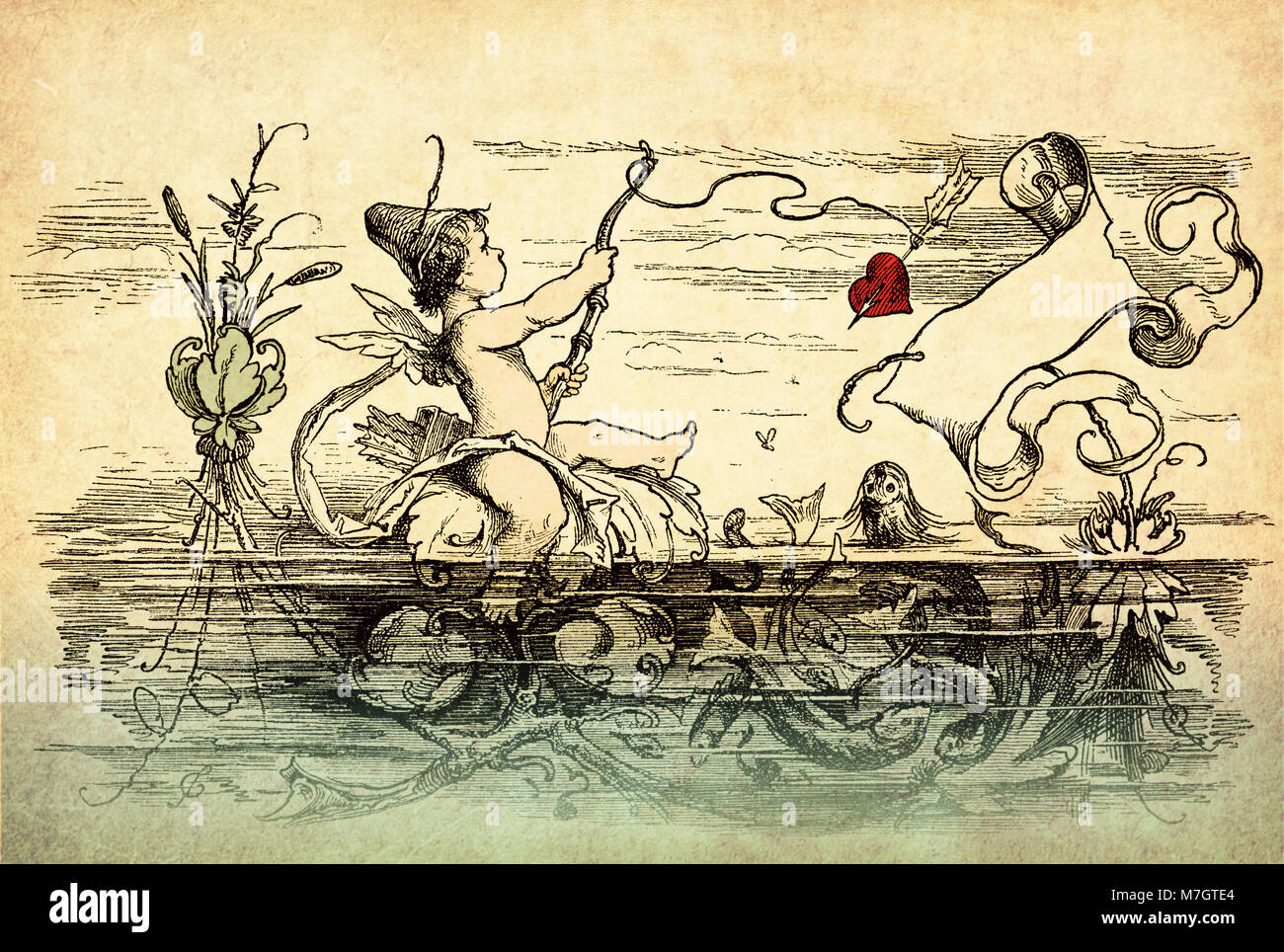 Vintage Valentine card with copyspace: cute Cupid fishes hearts with bow and arrows from a pond - Stock Image