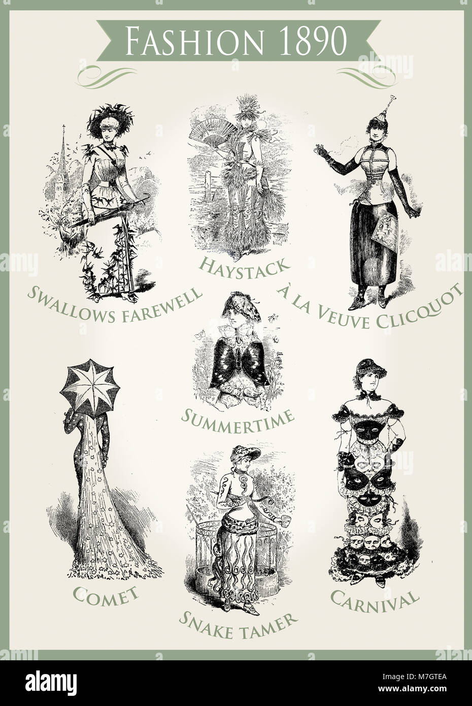 Fashion 1890 caricature and fun: very unpredictable outfits appropriate for a Carnival party - Stock Image