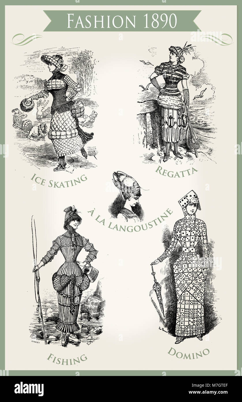 Fashion 1890 caricature and fun:  unpredictable and theatrical outfits appropriate for a Carnival party - Stock Image