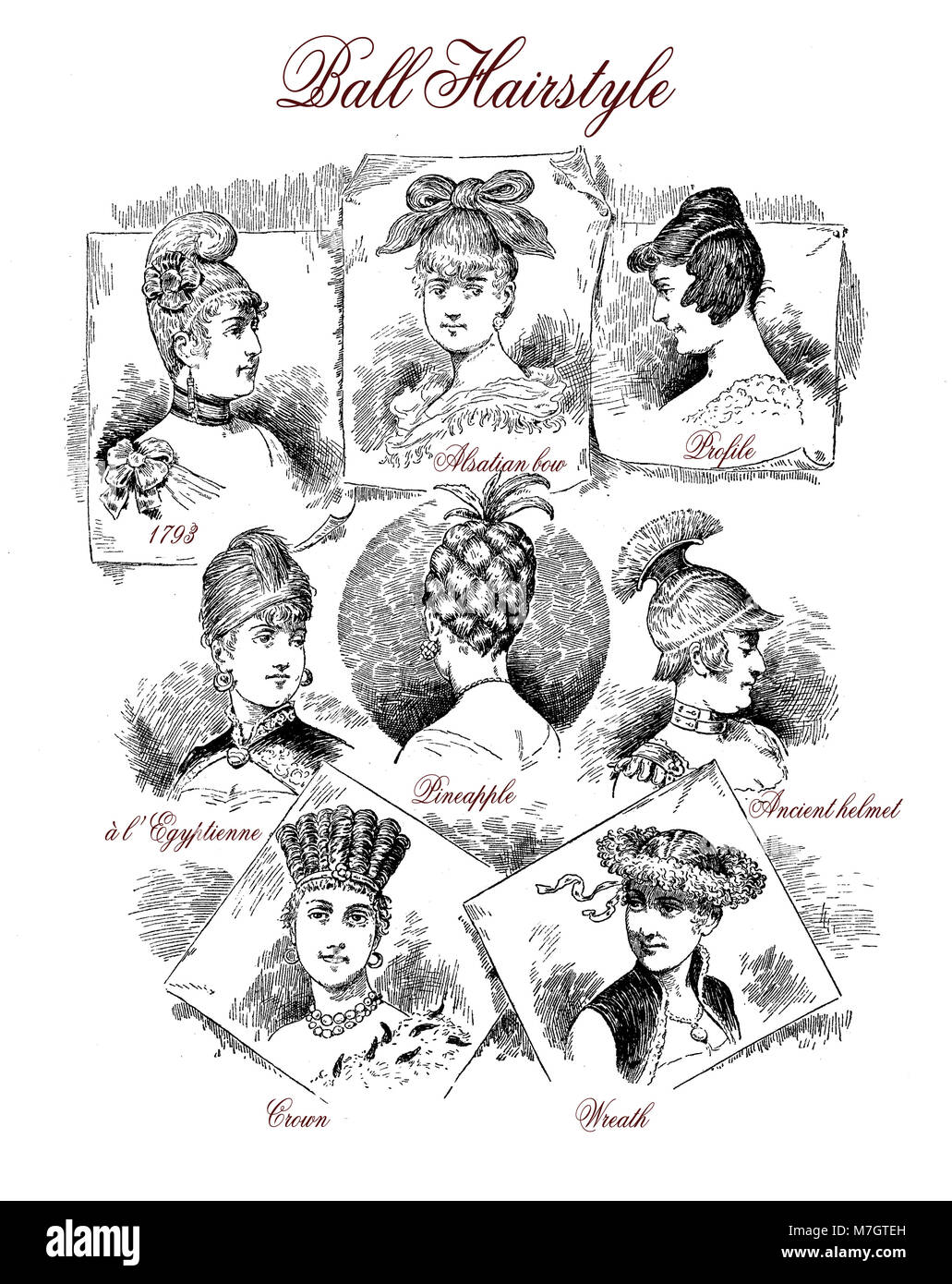 Fashion 1890 caricature and fun: clever hairstyles for a ball - Stock Image