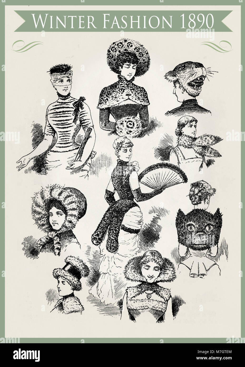 Fashion 1890 caricature and fun:  unpredictable winter outfits and headdresses with fur, ready for a party - Stock Image
