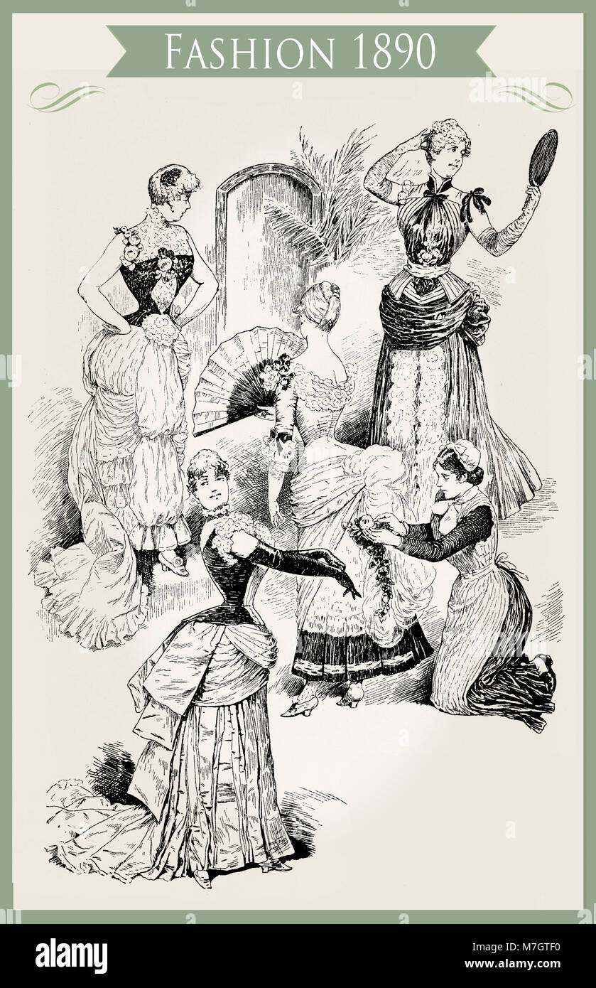Fashion 1890 caricature and fun:  young ladies with fans, frills and laces ready for a party and a maiden for the - Stock Image
