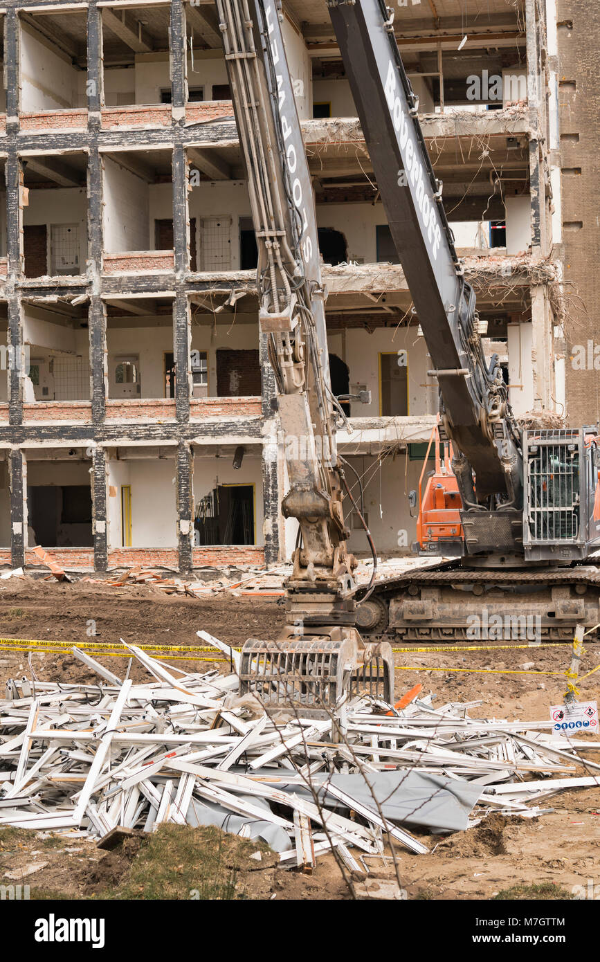 Old hospital building being demolished - Stock Image