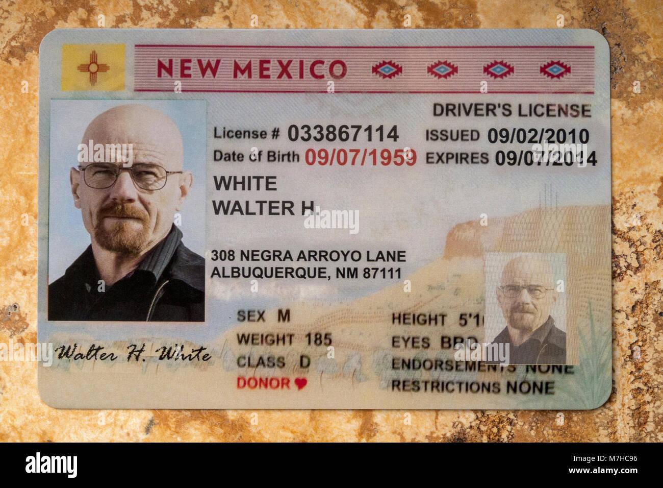postcard of driver's license of 'WALTER WHITE' aka Heisenburg - Stock Image