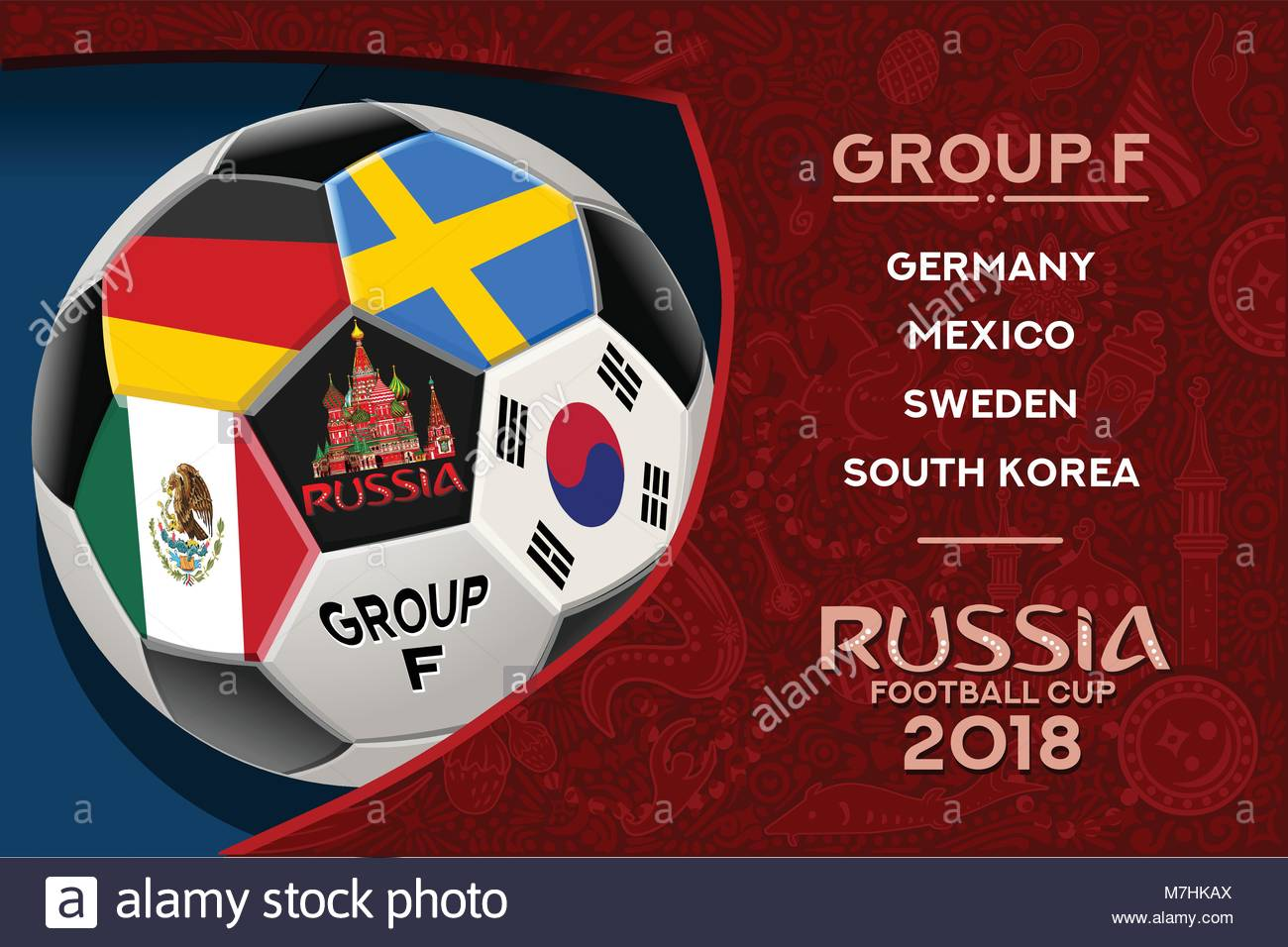 Russia World Cup 2018 Group F Wallpaper With Russian Pattern And