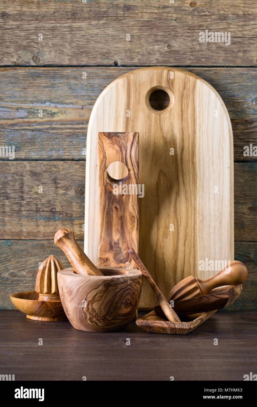 Set of wooden kitchen utensils made from olive wood